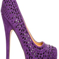PURPLE JEWEL ACCENT TRIM VELVET MATERIAL ALMOND TOE STYLE HIGH HEELS