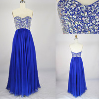 Royal blue prom dress - chiffon prom dress / royal blue evening dress / long party dress / long evening dress / royal party dress for girls