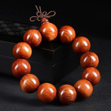 Men Natural Big Wood Beads Buddhist Prayer Bracelet Meditation Buddhism Health Adjustable Buddha Yoga Bracelet for Women
