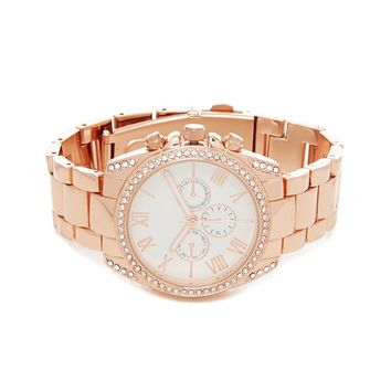 Rhinestone Chronograph Watch