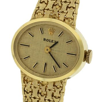 Ladies Vintage Rolex Italian 14K Yellow Gold 0585 21mm Manual Mesh Dress Watch