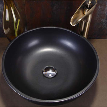 Round Bathroom Lavabo Ceramic Counter Top Wash Basin Cloakroom Matt Black Porcelain Vessel Sink JY001