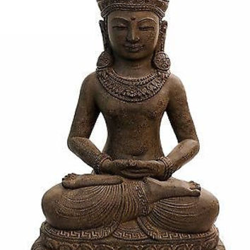 Stone Buddha Statue in Khmer/Cambodian Style 16.5 inches Tall