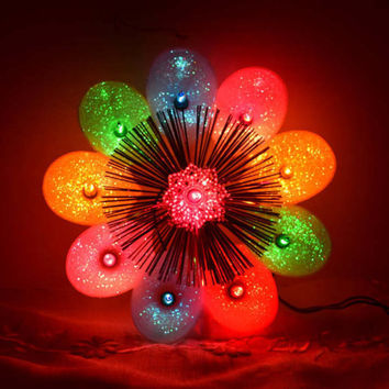Christmas Lighted Tree Topper Vintage Working 10 Multi Color Light Topper Silver Tinsel Holiday Decoration Window Hanger Flower Christmas