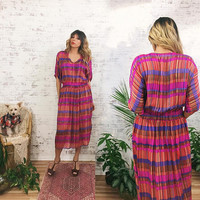 Vintage 1970's SILK Rainbow Candy Striped Robert Janan Designer Dress || Size Small or Medium