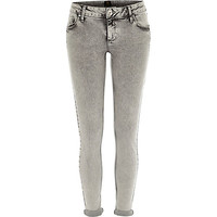 River Island Womens Grey acid wash rolled up Cara superskinny jeans