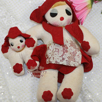 Sock Rag Doll, Felt Doll, Red Dressed Mamma and Baby Toy, Vintage Folk Ark 1940s Rustic Girl Toy, Mother Child D224