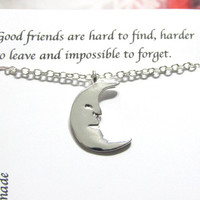 Silver Half Moon Necklace, Best Friend Friendship Necklace |A5| Birthday Gift For Friend, Best Friend Gift, Best Friend Friendship Necklace