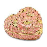 Bejeweled Red Butterfly Pink Heart Trinket Box