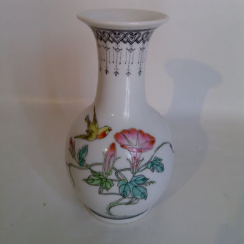 Beautiful Hand Painted Chinese Vase With Flowers And Yellow Bird