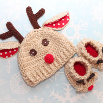 Reideer hat and booties set 0-6 months, red nose reinder hat with antlers and matching shoes