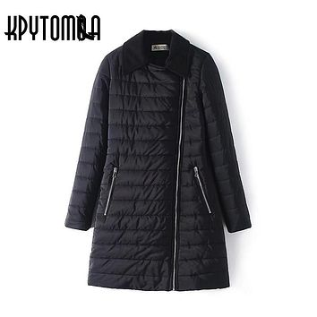 Vintage Elegant Winter Long Jacket Women Parkas 2017 New Fashion Europe Style Zipper Cotton Padded Slim Coat Ladies Outerwear