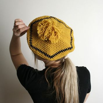 Adorable Vintage Mustard Yellow Knit French Beret by zwzzy on Etsy