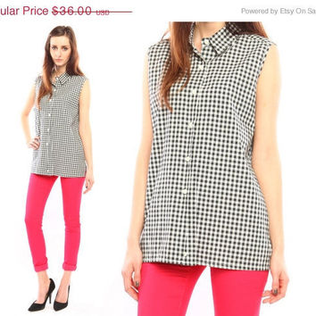 gingham plaid shirt // vintage 80s // sleeveless by shopCOLLECT