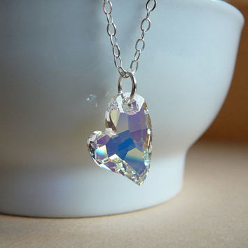 Sparkling Swarovski Devoted 2 U Heart pendant - Crystal AB - Sterling silver chain - Love gift necklace - Free shipping to Canada & USA