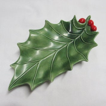 Christmas Holly Leaf Ceramic Trinket Dish Vintage