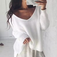 Autumn White Knitted Sweater Women Sexy Off Shoulder Pullovers Knitwear Winter Long Sleeve Off The Shoulders Jumpers Gray