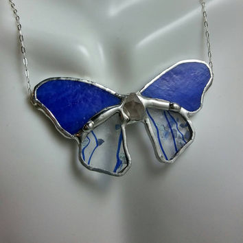 Stained Glass Butterfly Necklace, Blue, Confetti & Crystal Necklace