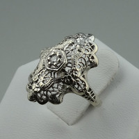 Vintage Victorian 14k White Gold Filigree Diamond Ring