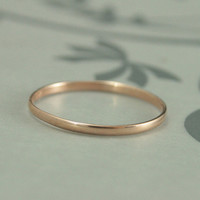 10K Rose Gold 1.5mm Skinny Minnie Plain Jane Half Round Band--Rose Gold Women's Wedding Band--Hand Made Wedding Ring