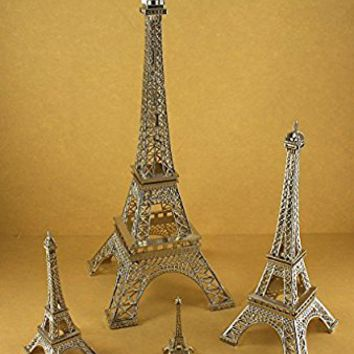 "Dreampartycreation Silver Eiffel Tower Paris France Metal Stand Model for Home Decor or Wedding Theme Choose Size - 15"" - 10"" - 6"" or 3"" Tall (6"" Tall Silver)"
