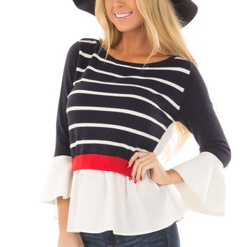 Navy Striped Sweater with Red and White Contrast