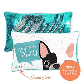 Puppies Play Pillow w/ Reversible Turquoise and Silver Sequins
