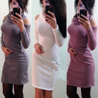 High Neck Long Sleeves Bodycon Short Dress