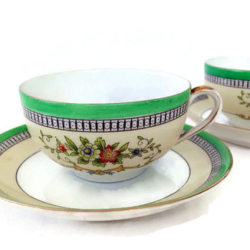 Antique Noritake China, Tea Cups, 1920's Roseara Pattern, Morimura, Set of Two, Discontinued 1921, Green Band and Floral, Cup and Saucer