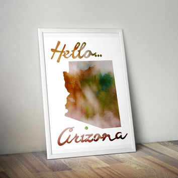 Watercolor Arizona Print, Arizona Print, Arizona Art, Arizona Poster, Arizona State Print, Download, PDF & JPEG,8.5 x 11, Vertical Art Print