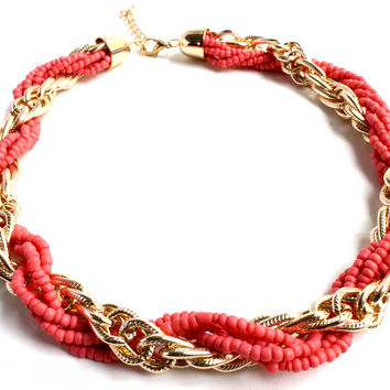 """Reef Of Coral"" Gold Necklace"
