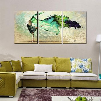 3-Piece Emerald Dancer Canvas Painting