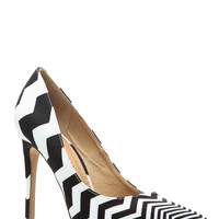 Black White Chevron Print Classic Pointy Pumps