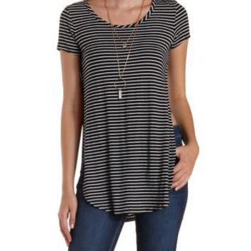 Black Combo Striped Side-Slit Tunic Tee by Charlotte Russe