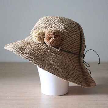 Pom pom raffia sun hat, Crochet sun hat, Pom pom straw hat, Sun hat womens, Packable sun hat, Straw hat, Adjustable sun hat