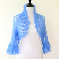 Soft blue  shrug, silk mohair knit lace bolero shrug, luxury fine knit sweater