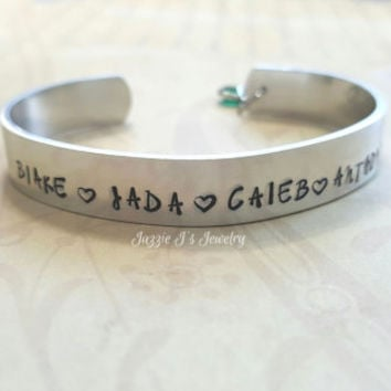 Personalized Family Names Cuff Bracelet, Kids Names Cuff Bracelet, Gift for Mom, Mother's Bracelet, Personalized Cuff with Birthstone
