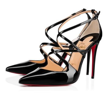 Christian Louboutin Cl Crossfliketa Black Patent Leather 18s Pumps 1180356bk01