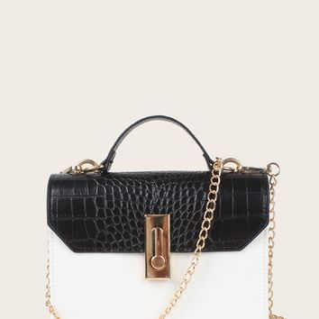 Color Block Croc Embossed Leather Satchel Bag