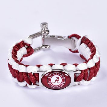 Alabama Crimson Tide Custom 6pcs Paracord College Football Charm Bracelets