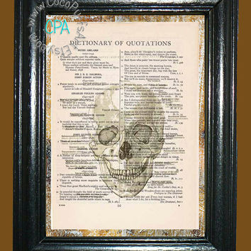 Medical Smiling Human Skull -- Vintage Dictionary Book Page Art-Upcycled Page Art,Wall Art,Mixed Media Art