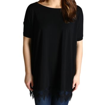 Black Piko Lace Trim Short Sleeve Top