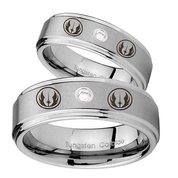 His Hers Star Wars Jedi Step Edges Silver Tungsten CZ Mens Wedding Ring Set
