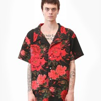 Exotic Flower Button Down Camp Shirt in Black