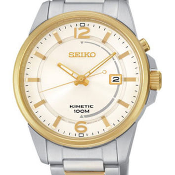 Seiko Mens Kinetic  Watch - Two-Tone Case & Bracelet - White Dial - Gold Accents