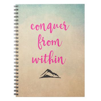 Inspirational Typography Quote on Determination Notebook