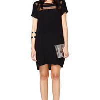 Black Contrast Sheer Short Sleeve Loose Dress - Sheinside.com