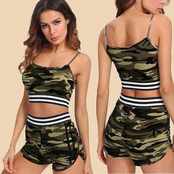 Two Pieces Womens  Vest Tank Top Camouflage Printed Sleeveless Shirt Pants Sets