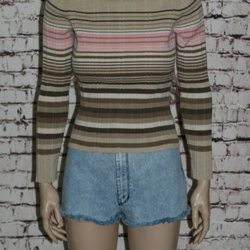90s Turtle Neck Sweater Jumper Striped Hipster Grunge Boho Knit  XS S M  Polo Brown Ivory Pink Beige Pastel Goth Cropped Crop