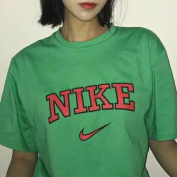 NIKE 2018 summer retro sports loose short sleeve classic printed letter casual T-shirt F-XMCP-YC green